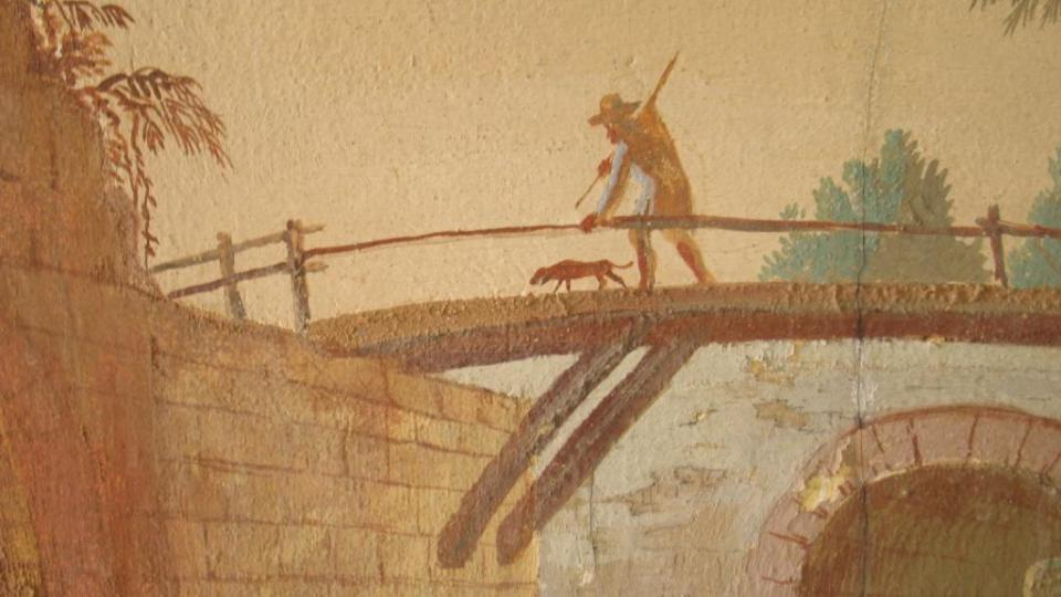 Fara ve Svinčanech - detail fresky Josefa Kramolína