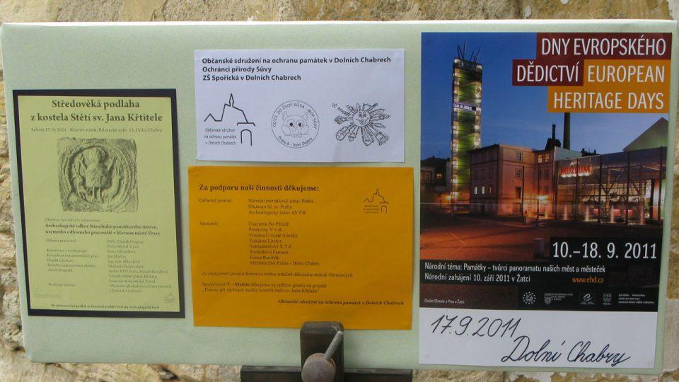 Dny evropského dědictví byly připomínány i před kostelem v Dolních Chabrech
