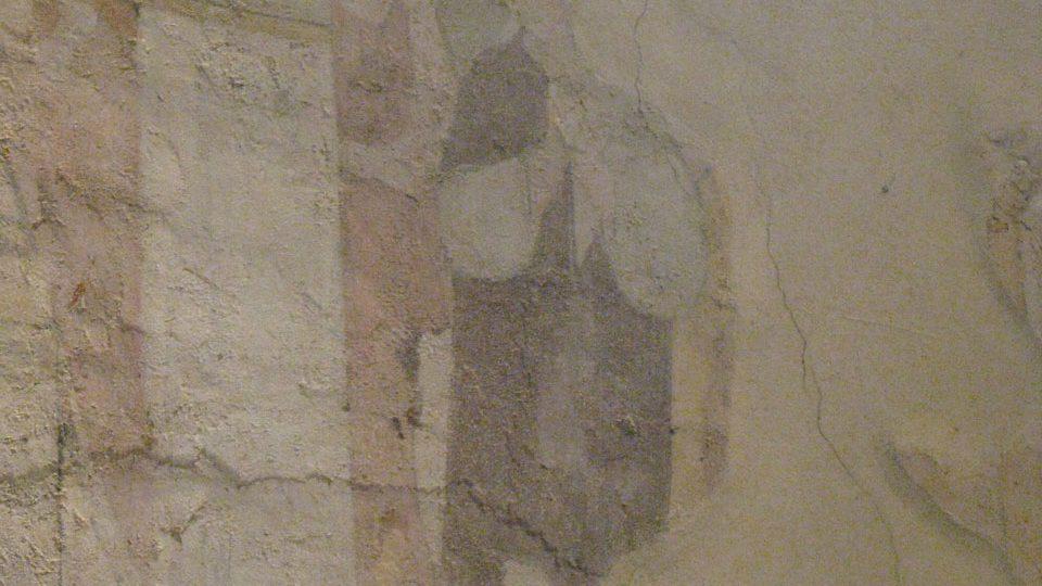 Druhá část malby z uvedení Panny Marie do chrámu