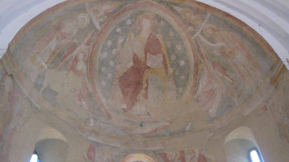 Románská malba Krista v mandorle
