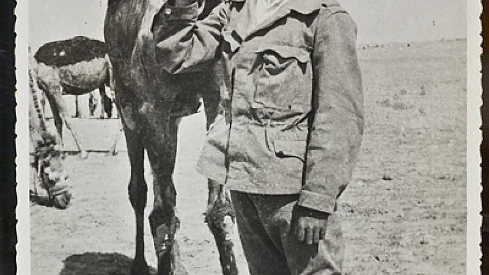 Český příslušník rakousko-uherské dělostřelecké jednotky s velbloudem