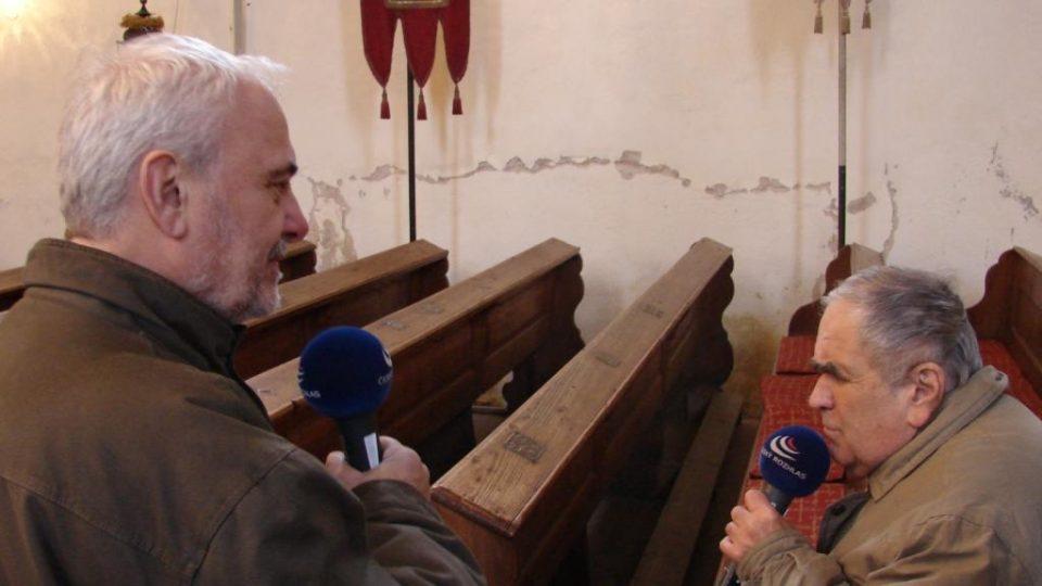 Vladimír Čech a František Musil v kostele v Klášterci nad Orlicí