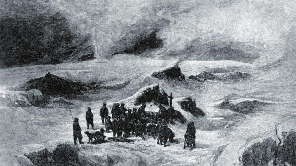 Křížův pohřeb na Wilczkově ostrově, jak jej zychytil Julius Payer
