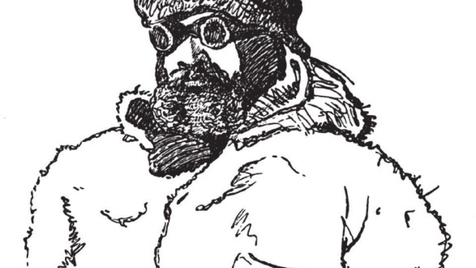 Ota Kříž na kresbě Julia Payera pořízené během expedice