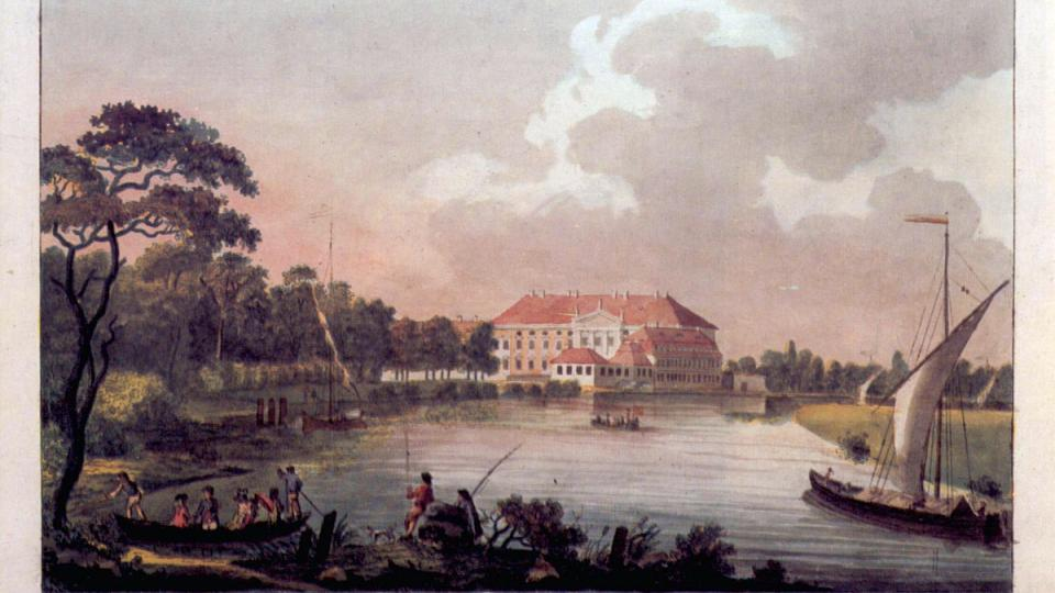 Zámek Bellevue na pohlednici z konce 18. století