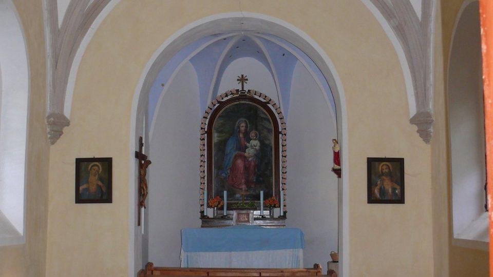 Interiér kaple P. Marie.