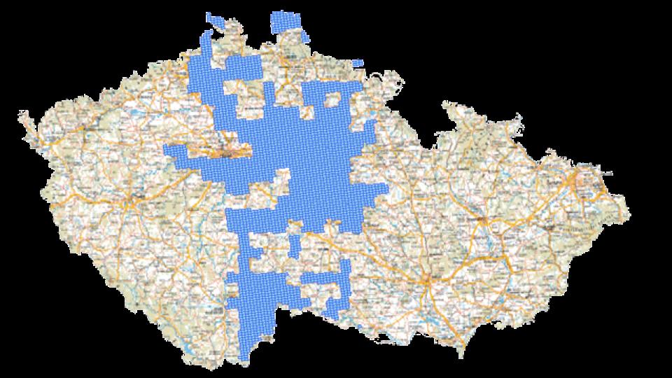 Mapa pokrytí republiky k 1.1. 2012