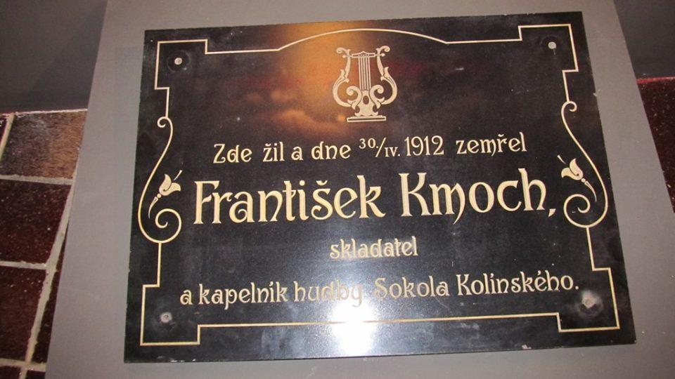 Pamětní deska věnovaná Františku Kmochovi