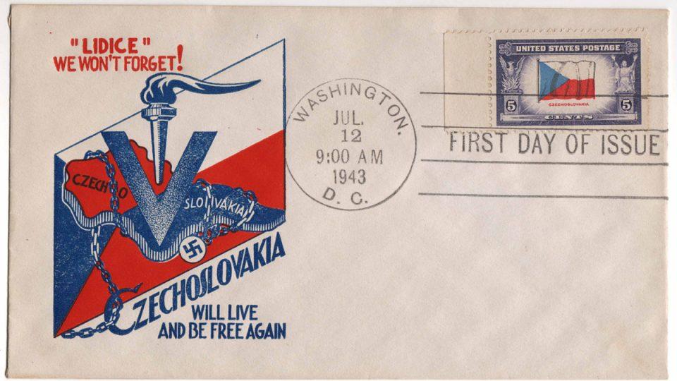 Obálka americké pošty vydaná k 1. výročí zločinu spáchaného na Lidicích