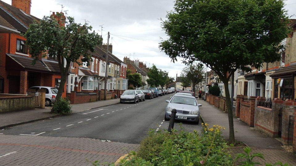Typická ulice v Peterborough