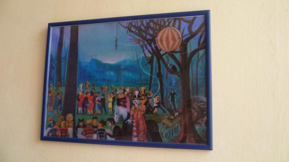 Obraz Josefa Hlinomaze na stěně v restauraci