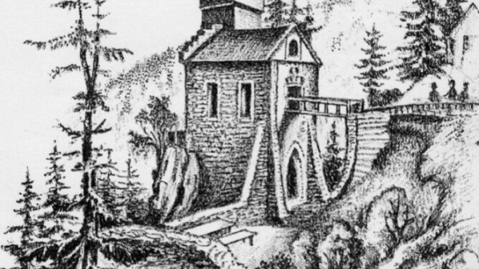 Podoba hrádku Aichelburg po jeho dokončení v roce 1863