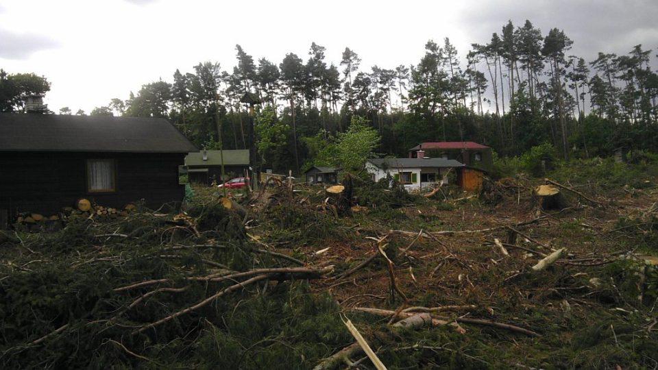 Osada vycházejícího slunce v královéhradeckých lesích se vzpamatovává po větrné smršti