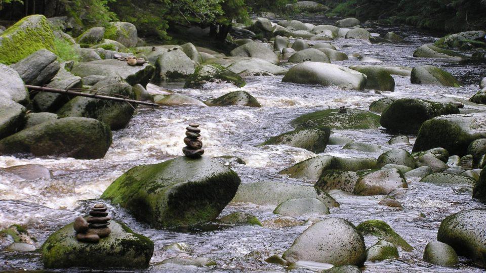 Tok Vydry mezi Antýglem a Čeňkovou Pilou je turistickým lákadlem této části Šumavy, k plavení dřeva byl však nevhodný