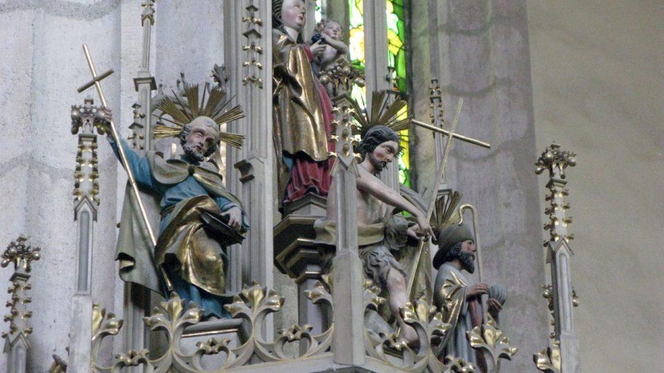 Detail stříšky kazatelny v kostele Panny Marie Na Náměti