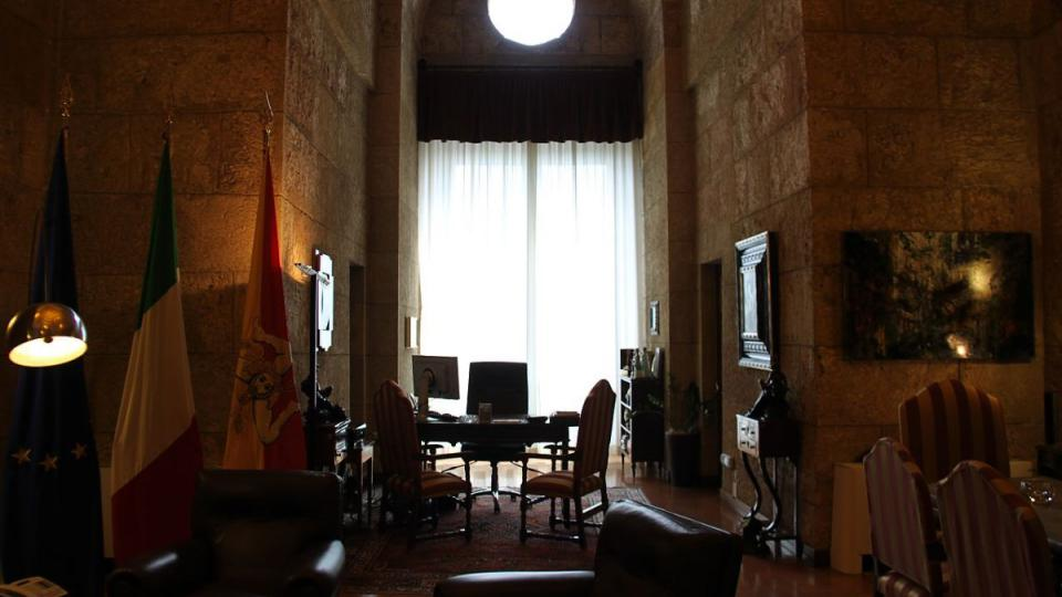 Králova místnost, dnes sídlo šéfa sicilského Senátu