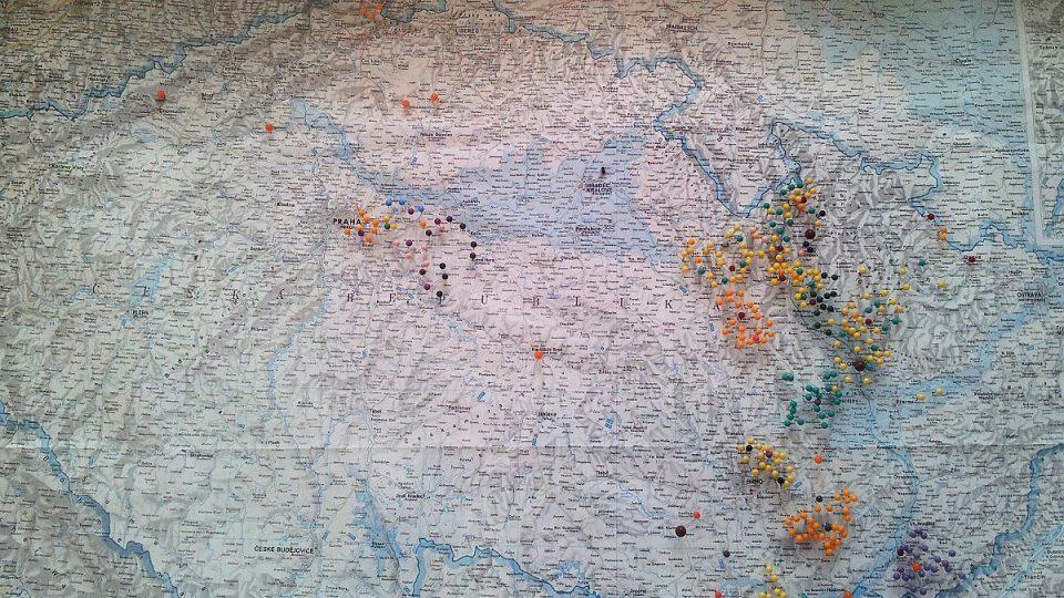 Mapa s původními državami rodu Lichtenštejnů v Česku