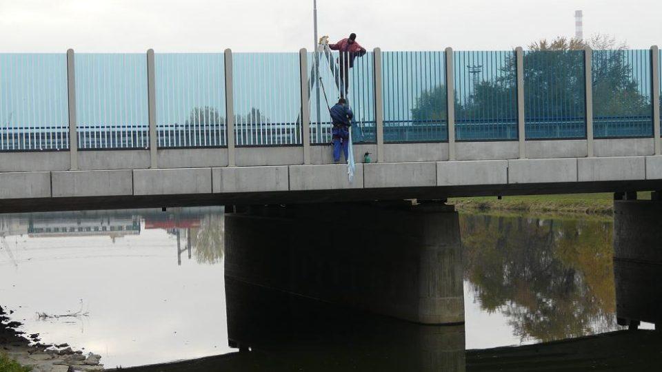 Pruhování protihlukové stěny na mostě Legií v Přerově zabránilo úhynu ptáků