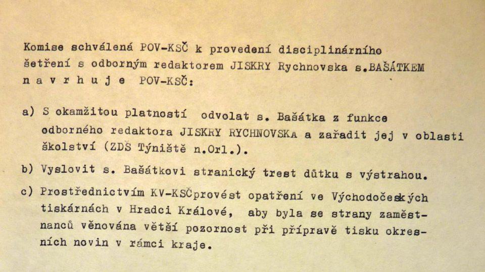 """Stranická """"spravedlnost"""": rozsudek pro Vojtěcha Bašátka. Písemnost z materiálů Ústavu pro studium totalitních režimů ČR"""