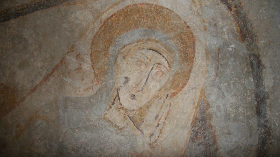 Scéna Narození Ježíše - detail, nástěnná malba, 11. stol., kostel sv. Juraje Kostoľany pod Tribečom, Slovensko (foto J. Hradilová)