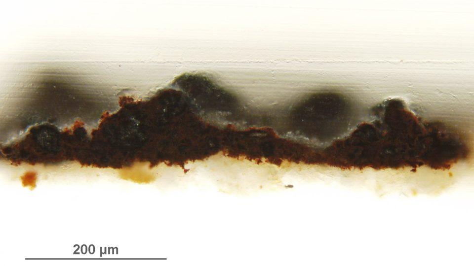 Vzorek z nástěnné malby (kostel sv. Juraje Kostoľany pod Tribečom, Slovensko) zachycující černání původně oranžové vrstvy, optický mikroskop – viditelné záření  (foto J. Hradilová)