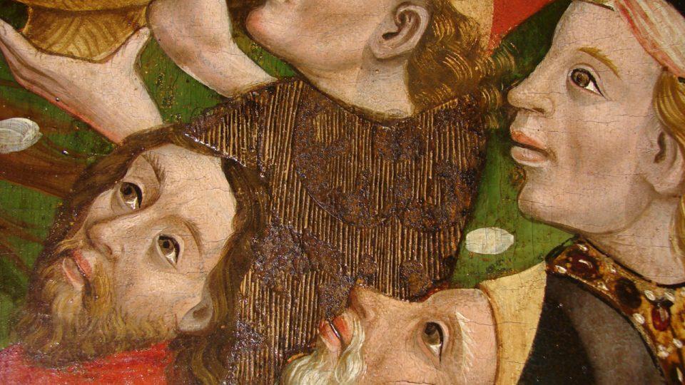 Detail brokátových imitací na oltáři v kostele v Dupusi v Rumunsku, foto C. Serendan, převzato z Serendan a kol., Acta Artis Academica 2010, 43-61)
