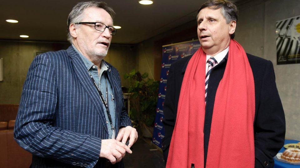Generální ředitel Českého rozhlasu Peter Duhan s prezidentským kandidátem Vladimírem Fischerem