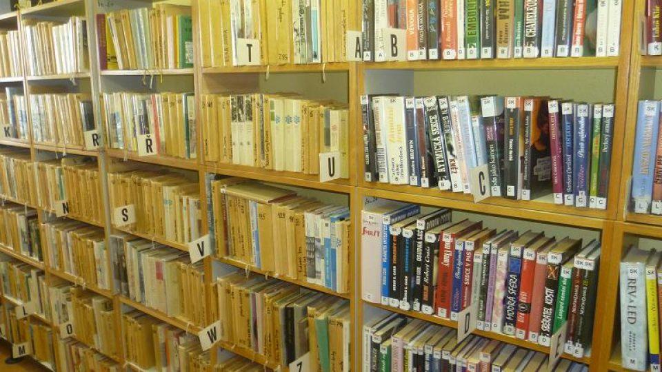Regály knihovny v Salačově Lhotě