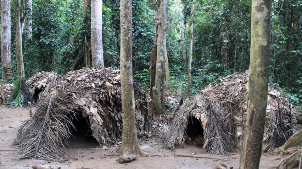 Pralesní vesnice kamerunských pygmejů