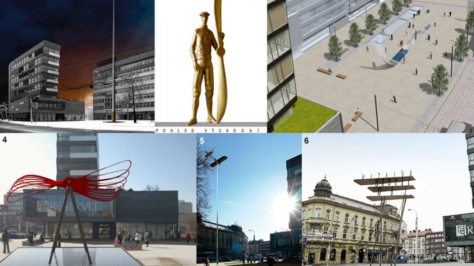 Návrhy památníku Jana Kašpara (koláž)