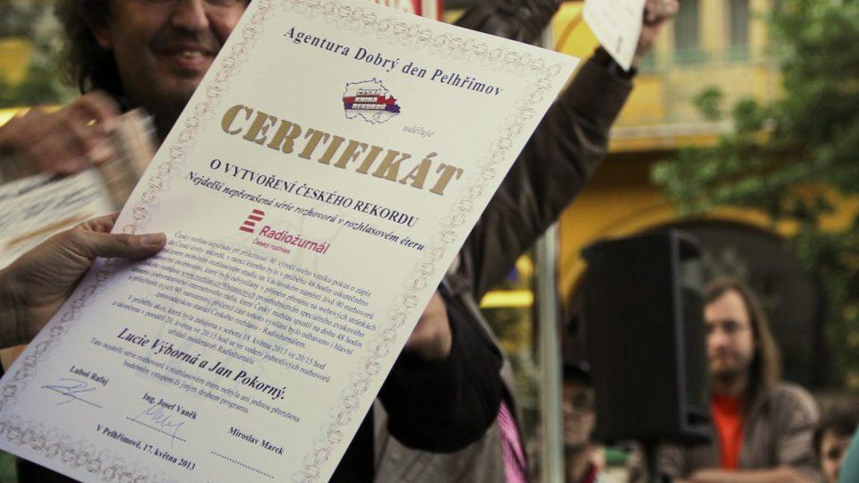 certifikát - rekord