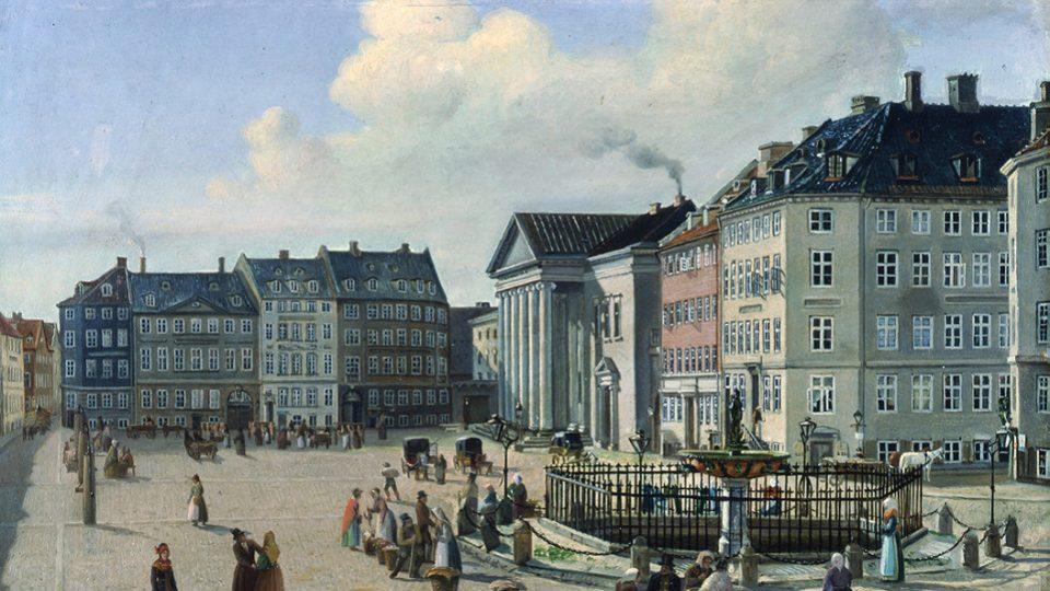 Nytorv v Kierkegaardově době - jeho rodině patřil červený dům vpravo