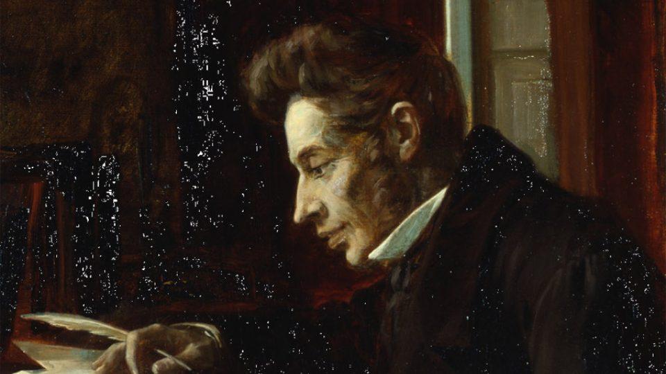 Kierkegaard u psacího pultu na obraze od Laplau Janssena