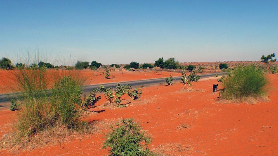 Andrea Kaucká a René Bauer - Súdán - Kontrast oranžového písku a černé asfaltky směřující do El Obeid