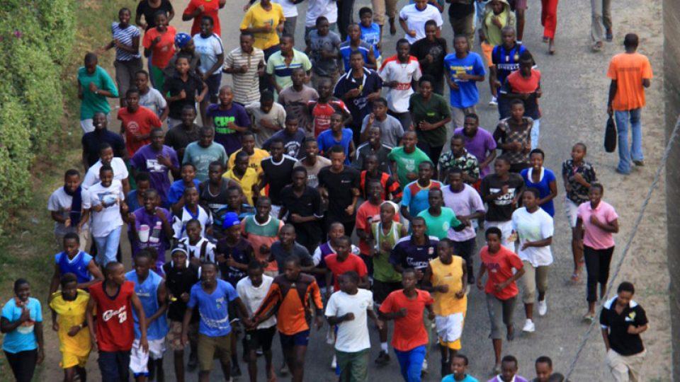 Běh na břehu jezera Kivu