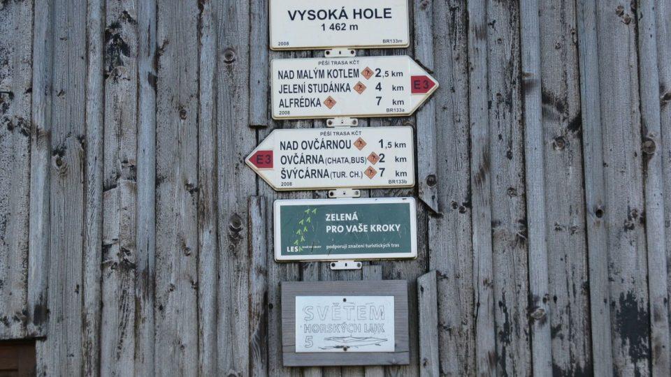 Vysoká Hole - rozcestník