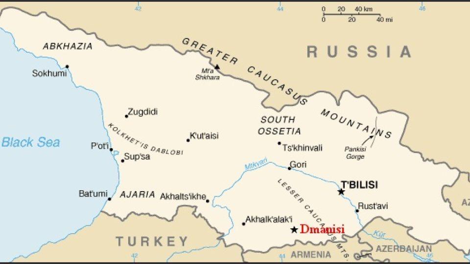 Mapa Gruzie s vyznačením Dmanisi