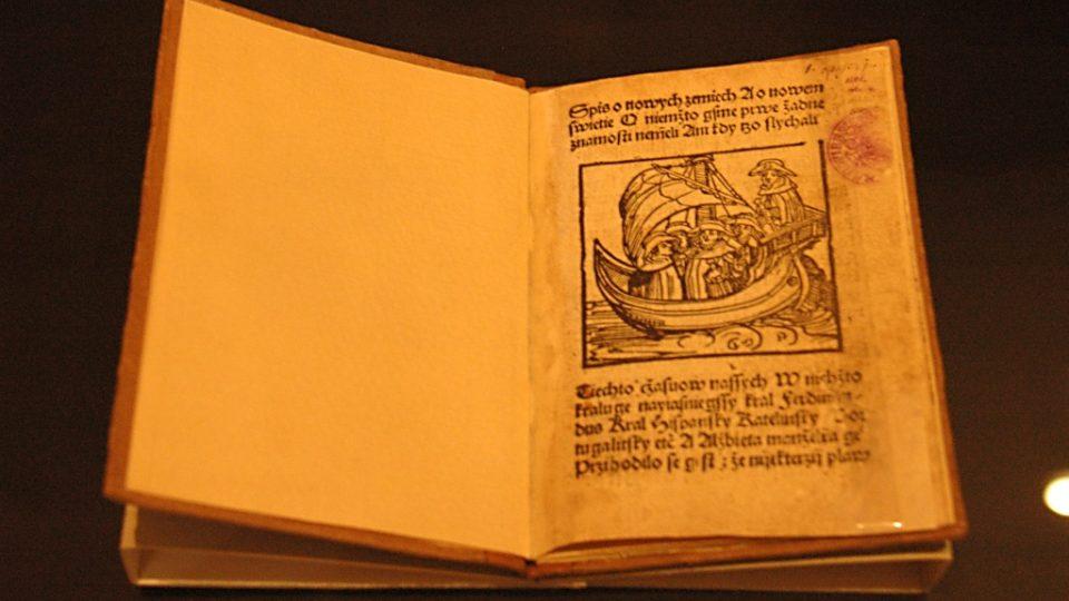 Spis o nových zemích. Amerigo Vespucci. Vytištěno v Plzni u Mikuláše Bakaláře (cca 1503-1504). Papír, vazba z poč. 20. stol.
