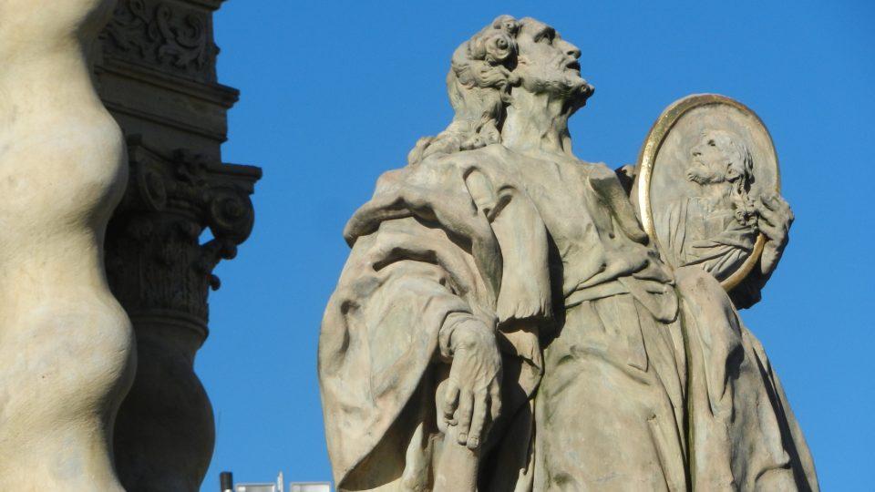 Mariánský sloup v Uničově - detail sochy Marie