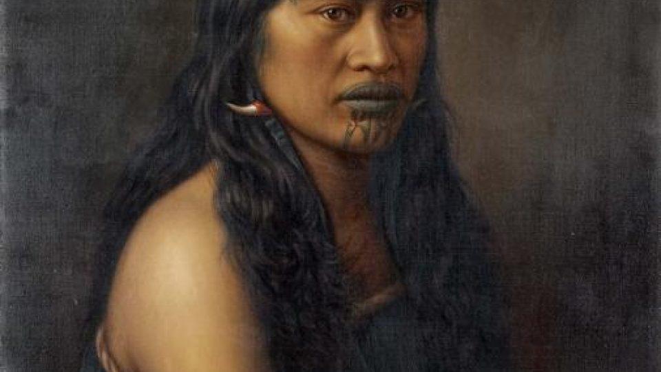 Obraz Gottfrieda Lindauera: Mrs. Háromi (1907). Jeden ze dvou portrétů, které malíř věnoval Vojtěchu Náprstkovi.