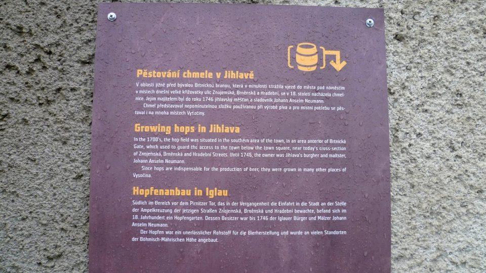 První informační tabule Pivovarské stezky