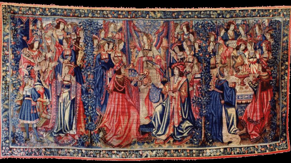 Renesanční tapiserie z doby kolem roku 1500 s třemi výjevy z řecké mytologie, která byla vyrobena v Bruselu