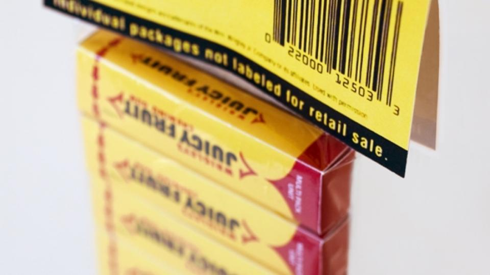První naskenovaný produkt s čárovým kódem - multipack žvýkaček, 26. 6. 1974 v supermarketu v Ohiu