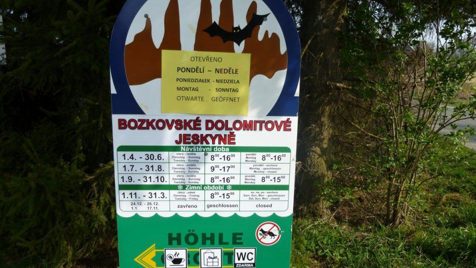 Bozkovské dolomitové jeskyně - infopanel