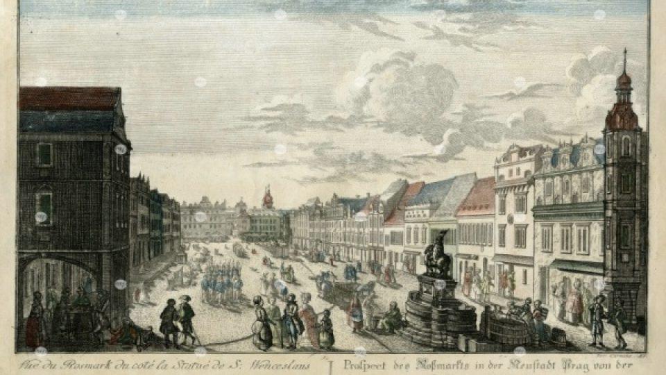 Spodní část Václavského náměstí směrem k Můstku, J. Carmine, 1785