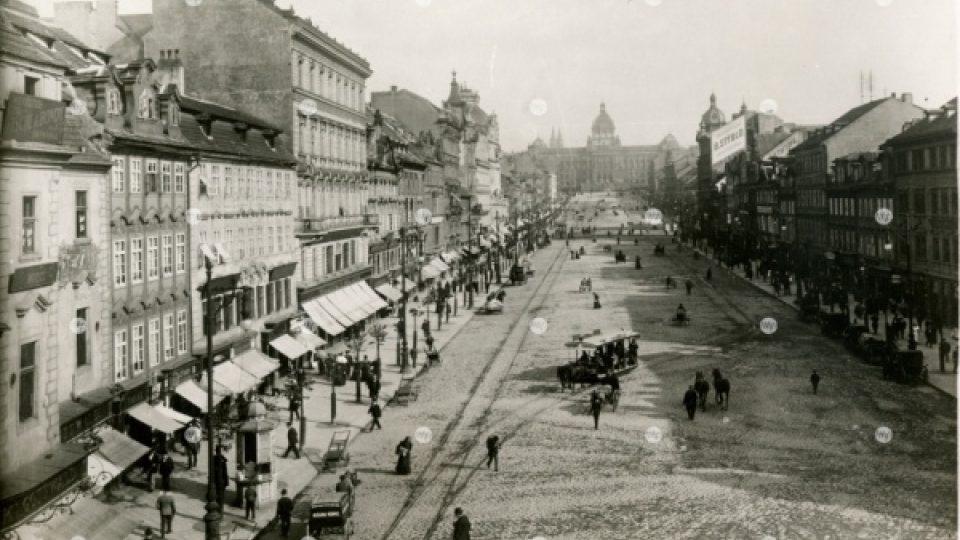Václavské náměstí od Můstku, 1895