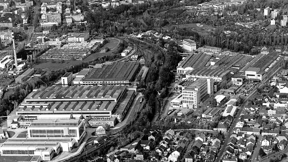 Historická fotografie areálu Škody