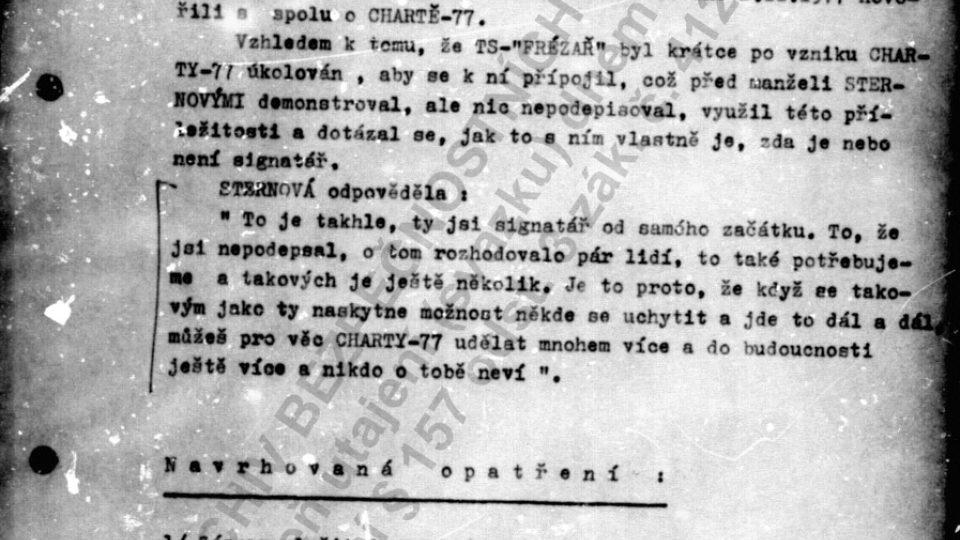 Jindřich Fairaizl informuje Státní bezpečnost o tom, jak to je s jeho vztahem k Chartě 77