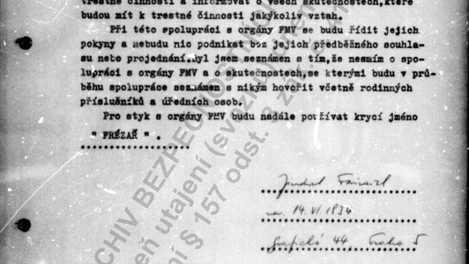 Jindřich Fairaizl se 27. dubna 1976 stává spolupracovníkem Státní bezpečnosti