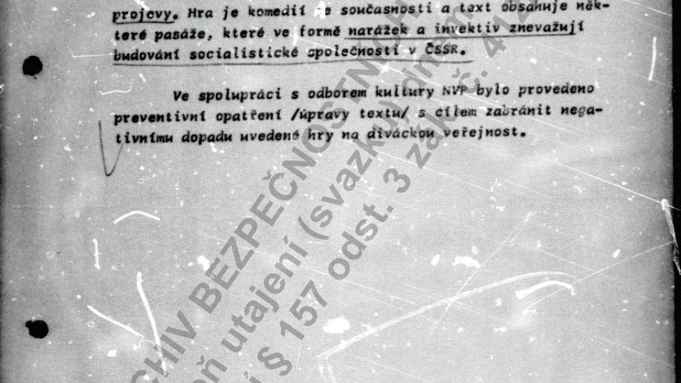 """Státní bezpečnost se dozvídá, že pracovníci odboru kultury Národního výboru Hlavního města Prahy museli provést """"úpravy"""" ve Fairaizlově divadelní hře"""